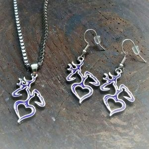 🆕 BROWNING Logo Necklace & Earring Set
